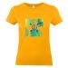 Camiseta mujer con palmeras y flechas albaricoque