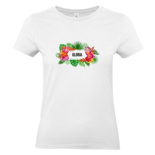 Camiseta mujer con flores exoticas blanco