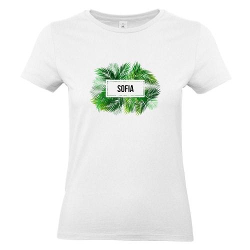 Camiseta mujer palmeras blanco