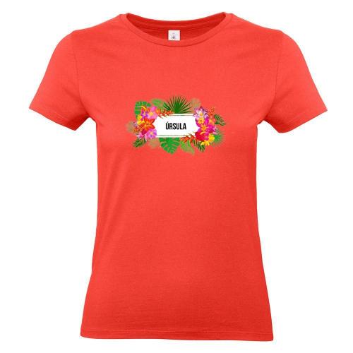 Camiseta mujer con flores exoticas coral