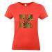 Camiseta mujer con palmeras y flechas coral
