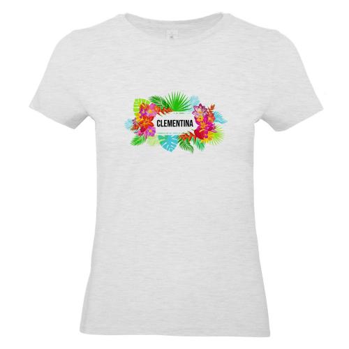 Camiseta mujer con flores exoticas gris