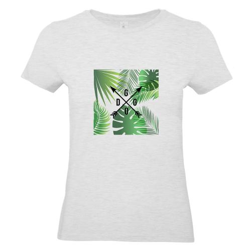 Camiseta mujer con palmeras y flechas gris