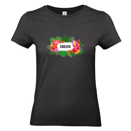 Camiseta mujer con flores exoticas negro