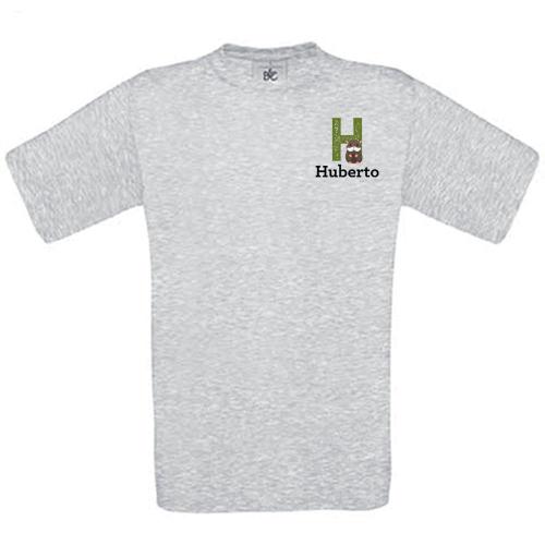 Camiseta niño personalizada alfabeto gris