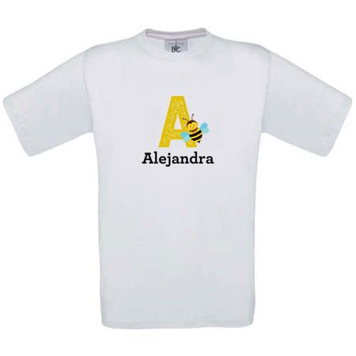 Camiseta niño personalizada alfabeto blanco