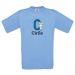 Camiseta niño personalizada alfabeto azul cielo
