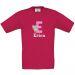 Camiseta niño personalizada alfabeto fuschia