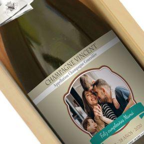 Botella de champán personalizada etiqueta foto