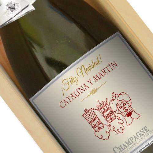 Botella de champán personalizada Navidad y Reyes
