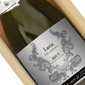 Botella de champán personalizada con nombre