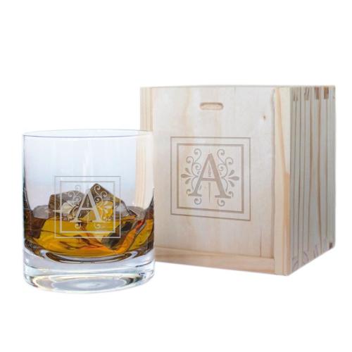 Cofre vaso de whisky personalizado inicial