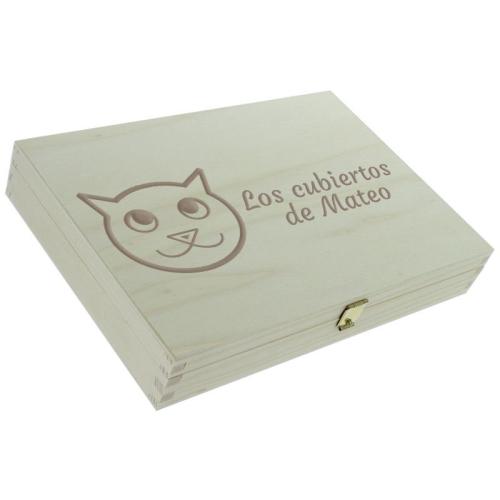 Cofre para cubiertos cerrado de gatos
