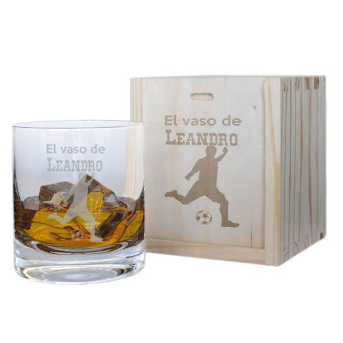 Cofre vaso de whisky personalizado de deportista