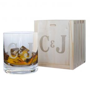 Vaso de whisky personalizado dos iniciales