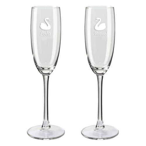 Copa de champaña dúo cigüeña