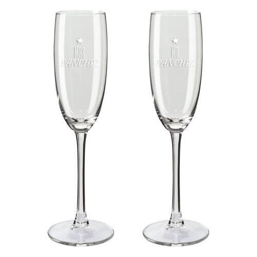 Copa de champaña dúo mrs y mr corazones
