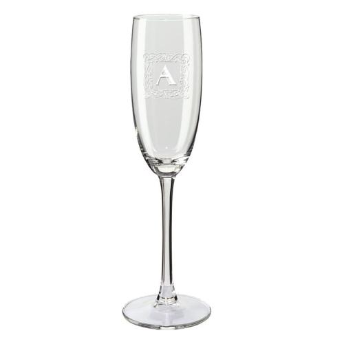 Copa de champaña con iniciales antigua