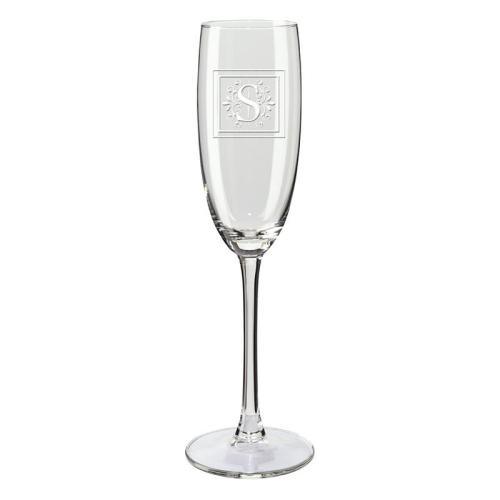 Copa de champaña con iniciales lacada