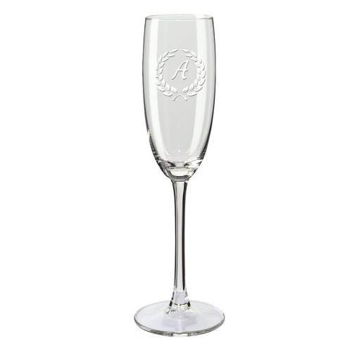 Copa de champaña con iniciales laurel