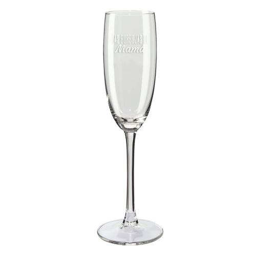 Copas de champaña mamá y papá burbujas