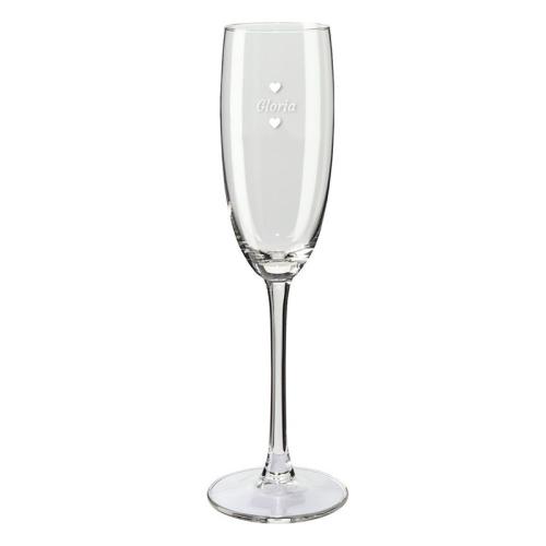 Copas de champaña personalizadas con nombre y corazones verticales