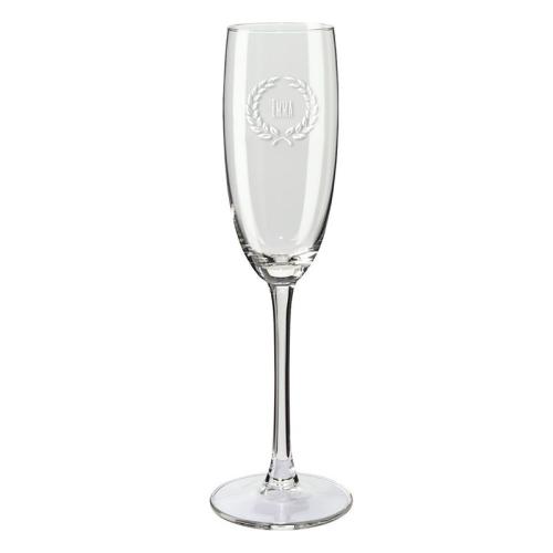 Copas de champaña personalizadas con nombre y  laurel
