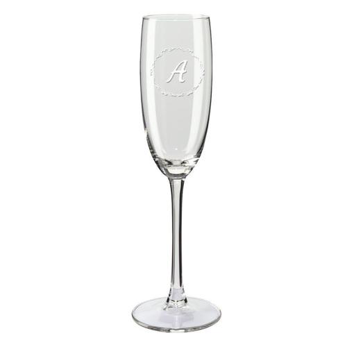 Copa de champaña con iniciales circulo