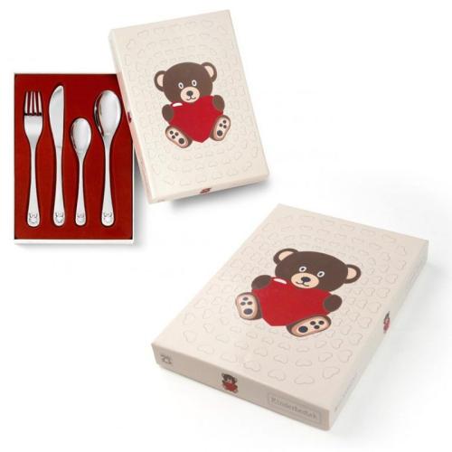 Cubiertos y caja de osos