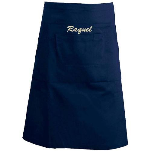 Delantal de cintura bordado azul