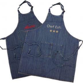 Delantal cocina denim jean bordado