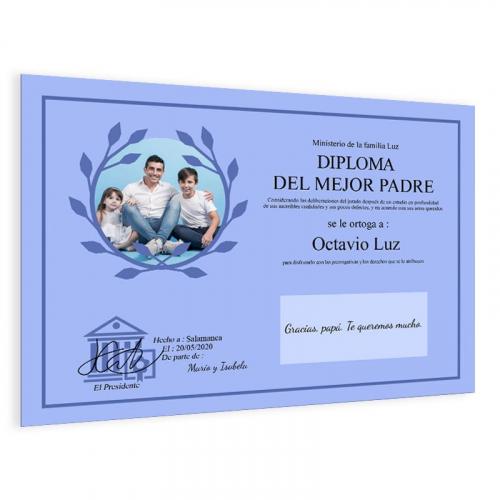 Diploma personalizado con foto azul