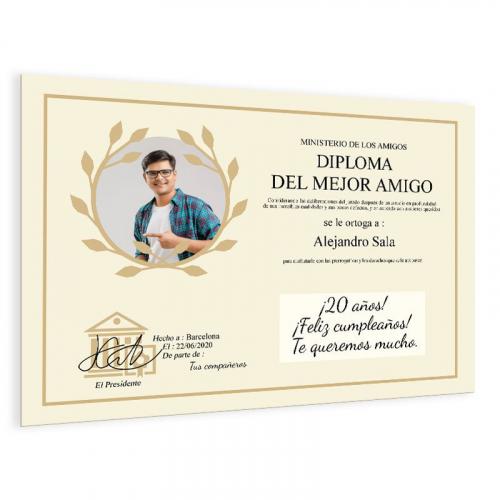 Diploma personalizado con foto beis