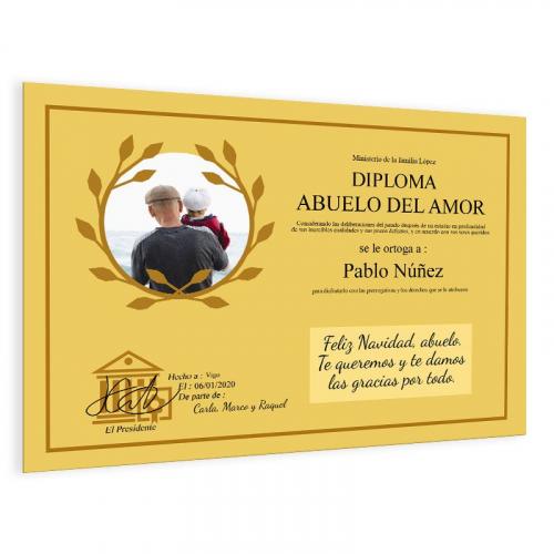 Diploma personalizado con foto amarillo