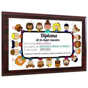 Diploma de la mejor maestra personalizado sobre soporte en madera