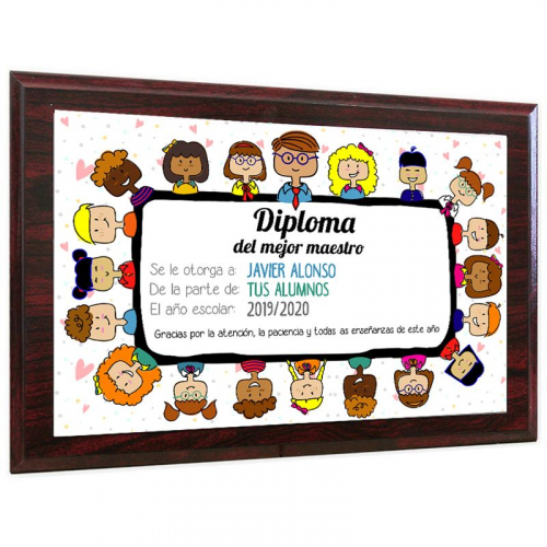Diploma del mejor maestro madera