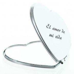 Espejo de bolsillo grabado con forma de corazón