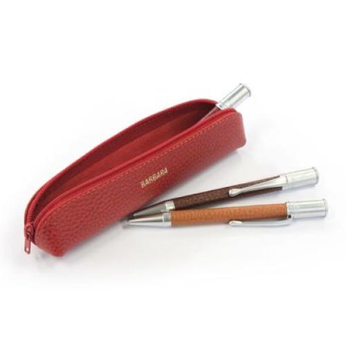 estuche para bolígrafos cuero con cremallera abierto