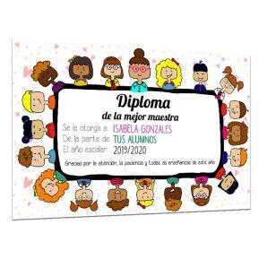 Diploma de la mejor maestra personalizado