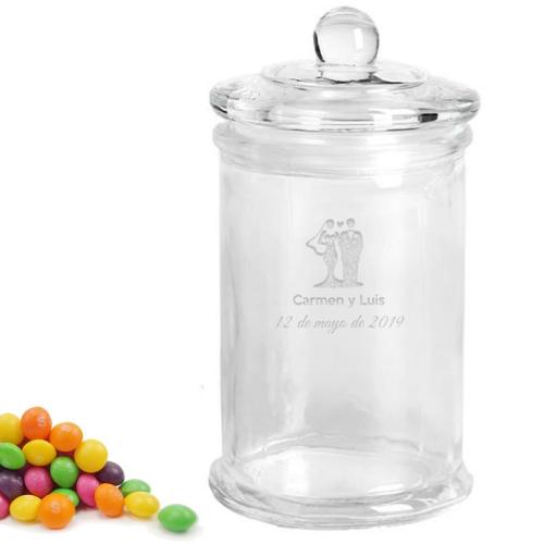 Frasco de dulces grabado para matrimonio