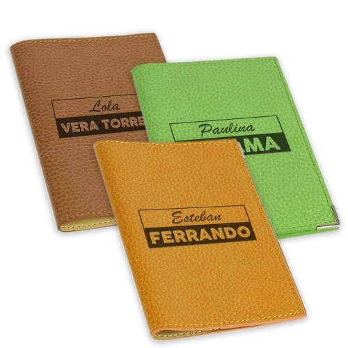 Funda de pasaporte personalizada 2 lineas