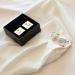 Gemelos cuadrados personalizados bañados en plata