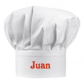 Gorro de cocinero blanco bordado