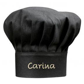 Gorro de cocinero negro bordado