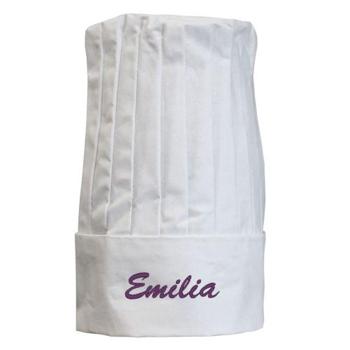 Gorro recto de cocinero blanco personalizado