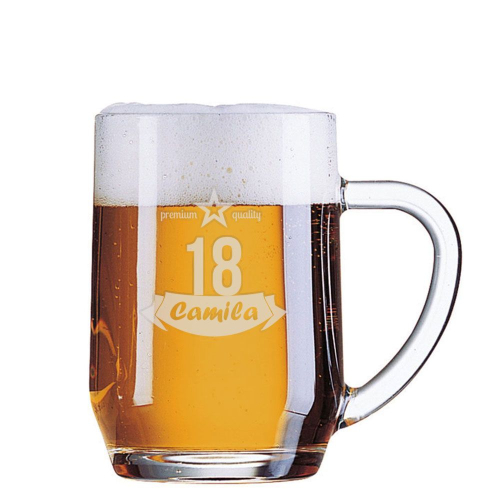 Jarra de cerveza grabada cumpleaños