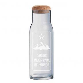 Jarra de vidrio de 1 litro con tapón personalizada