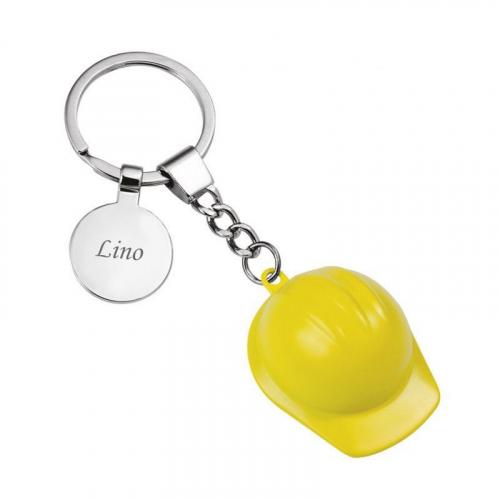 Llavero casco de construcción amarillo