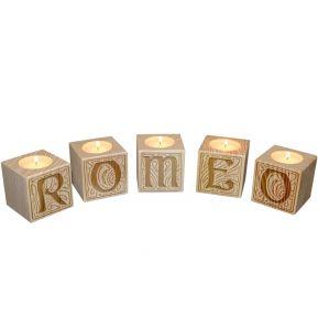Portavelas mini-cubos de letras