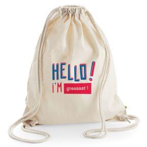 Mochila de algodón personalizada HELLO